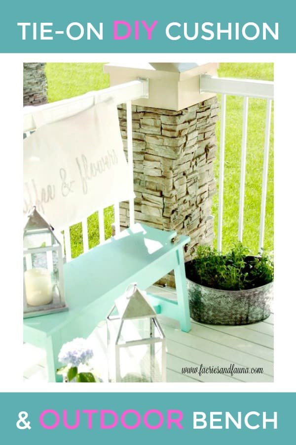 A bench and cushion for a small outdoor space.