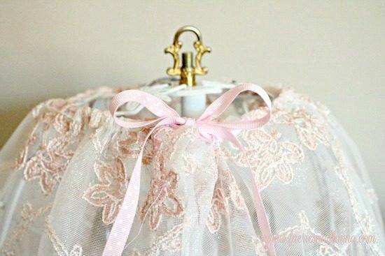 A Handmade Lampshade Made With Pink Lace And Ribbon On A Shabby Chic Lamp.  Lamp