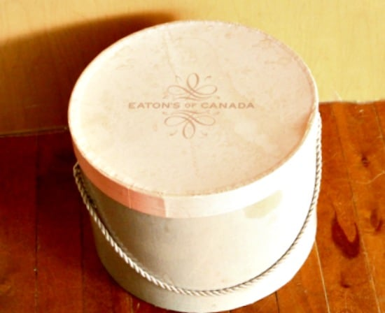 Vintage Hatbox, DIY hatbox, shabby chic hatbox, hatbox decorating ideas.