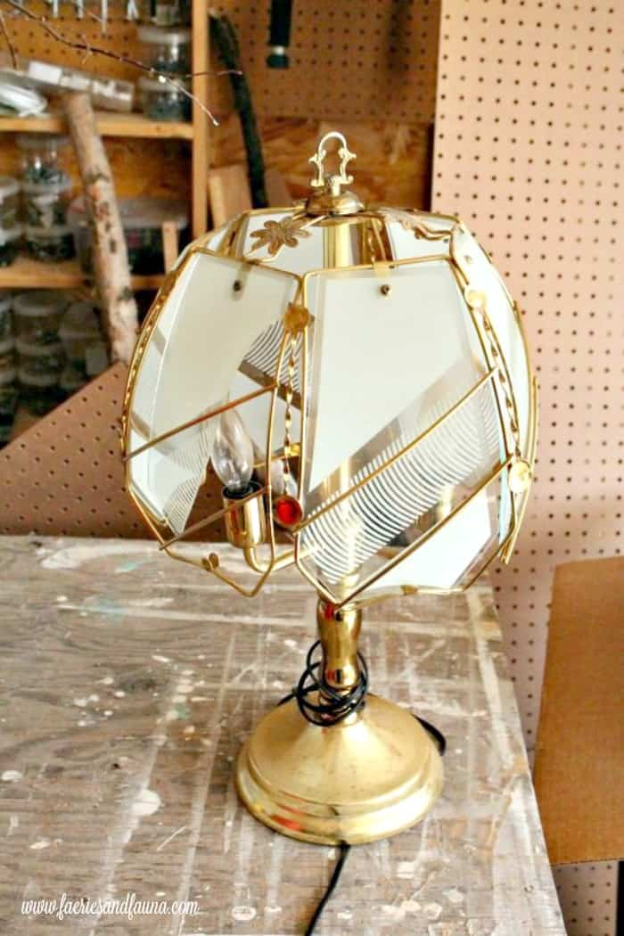 Broken lamp before it receives a lamp makeover. lamp makeover, shabby chic lampshade ideas, diy shabby chic lamp, shabby chic, shabby chic lamp