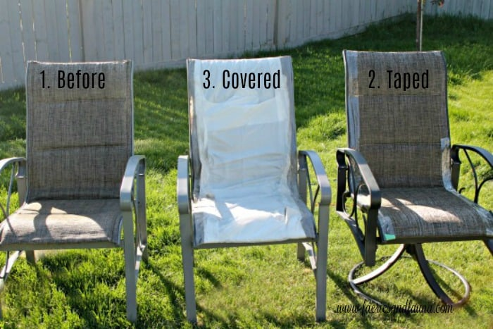 The before picture of an old metal patio chair set, prior to being given an Ombre Turquoise blue makeover.