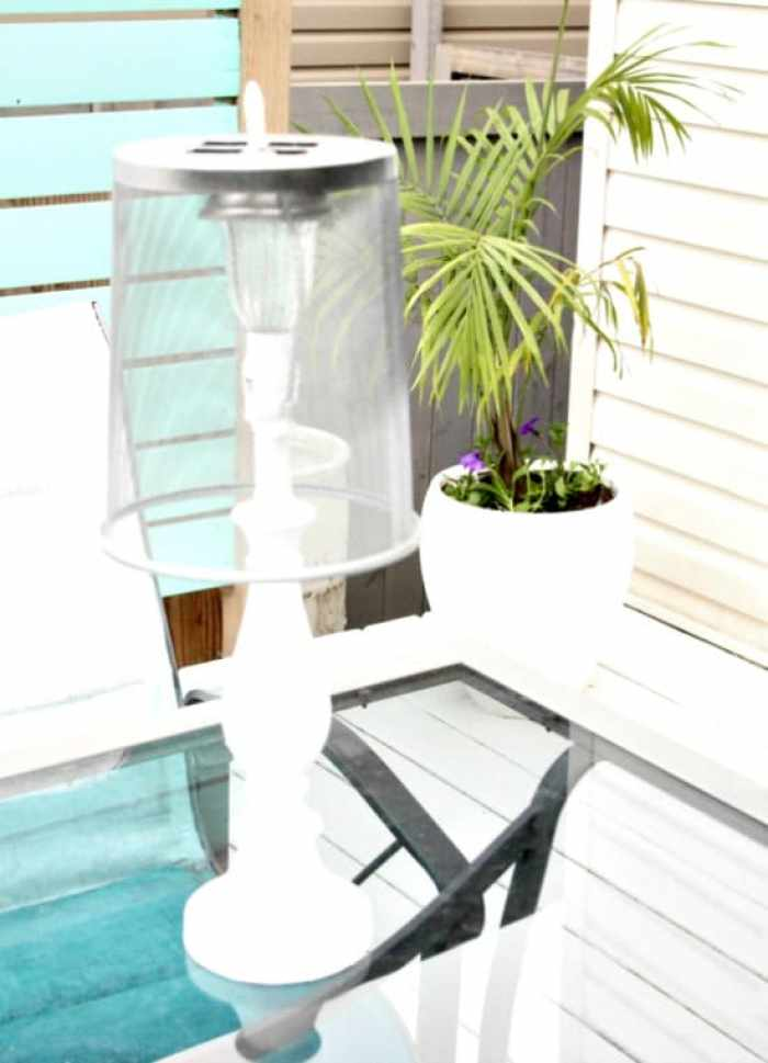 A diy solar lamp with shade, for the outside patio or deck. DIY Outdoor Lighting, DIY Solar Lights, Solar Light Ideas
