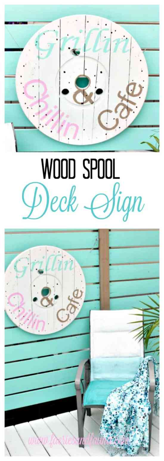 cable Spool ideas, wood cabe spool projec, arge wooden spool crafts, DIY deck art, DIY deck decor