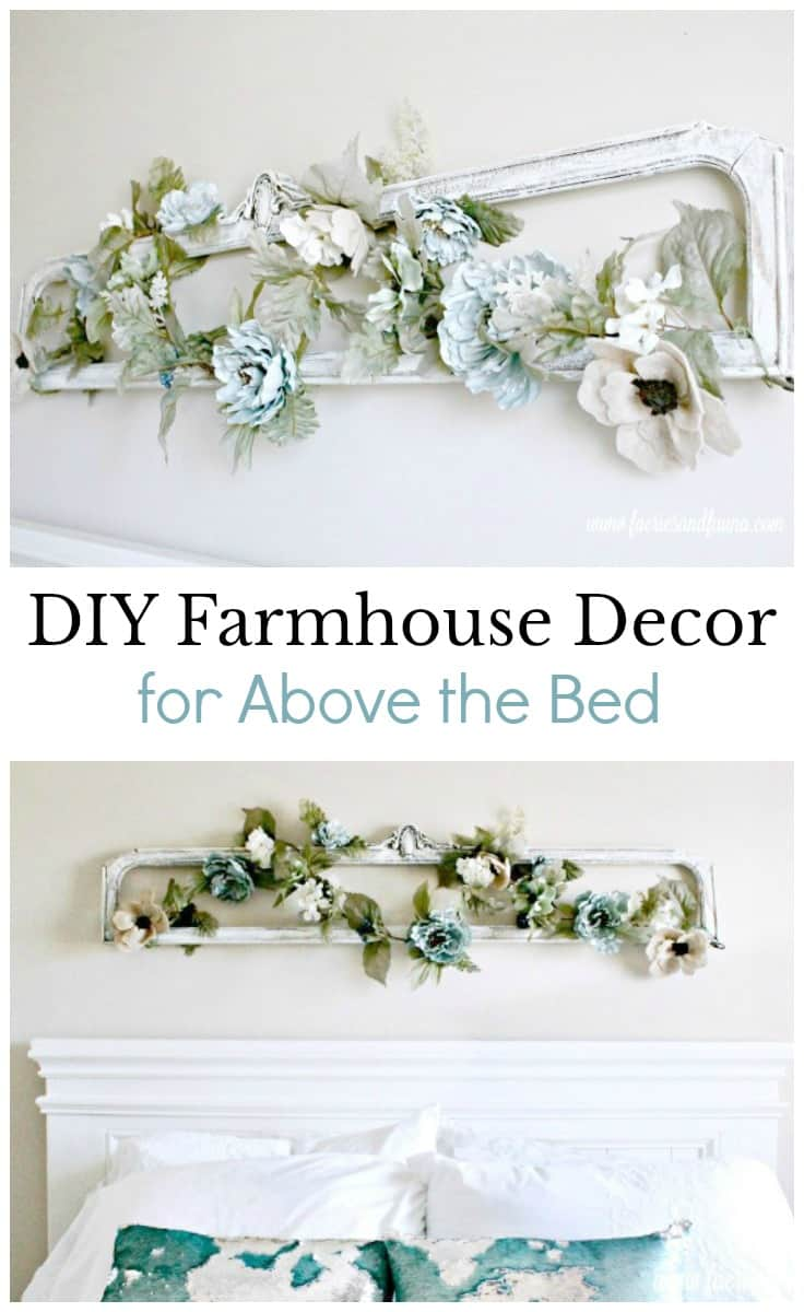This DIY farmhouse decor designed to be hung in the small place above the headboard in a master or guest bedroom.