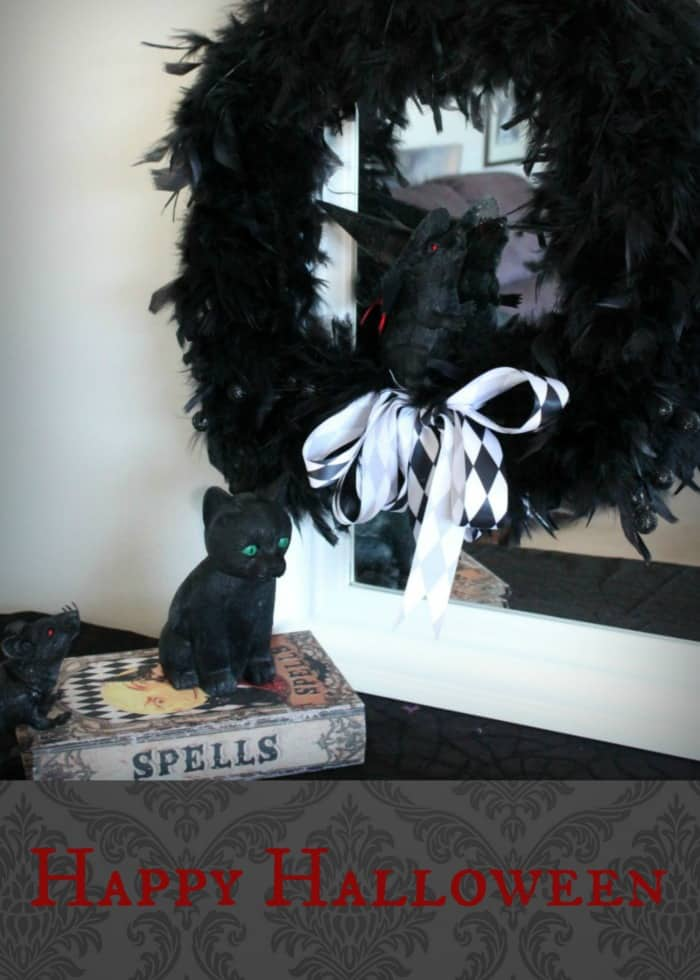 DIY Halloween Wreath, Halloween Craft Ideas, DIY Halloween Door Wreath