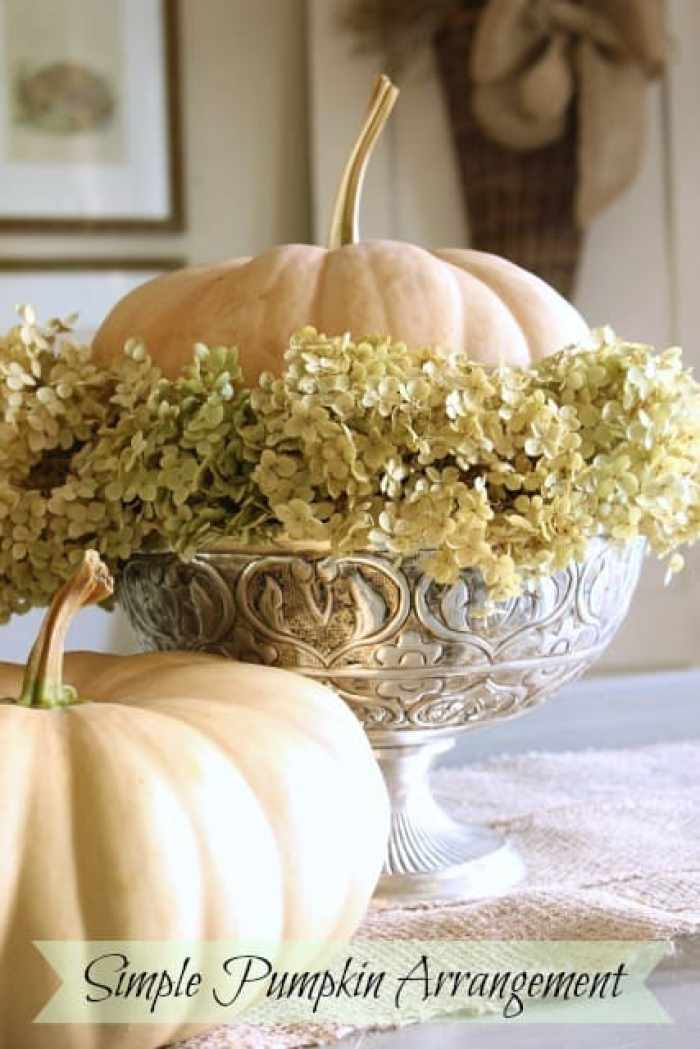 elegant fall decorating a simple pumpkin arrangement