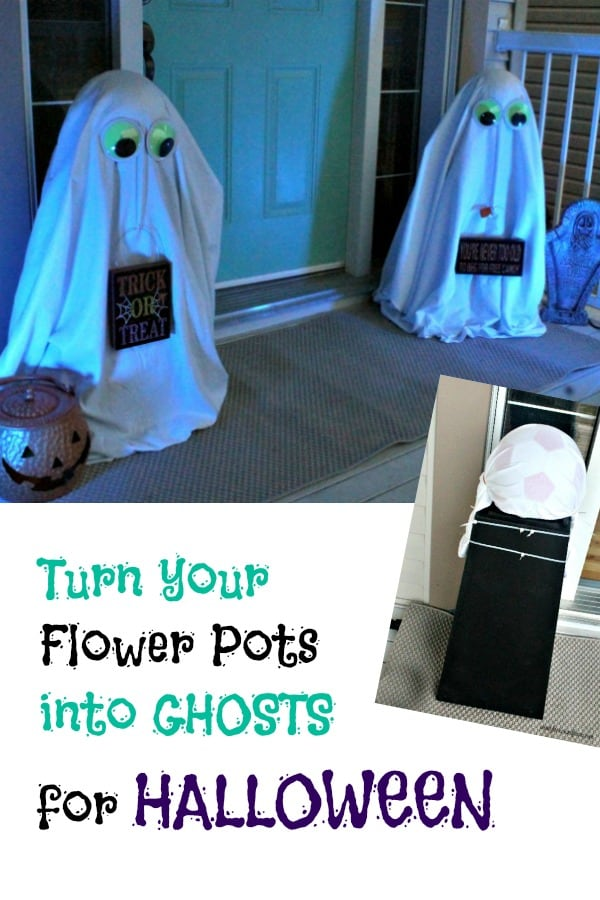 Halloween Front Porch Ghosts made using flower pots