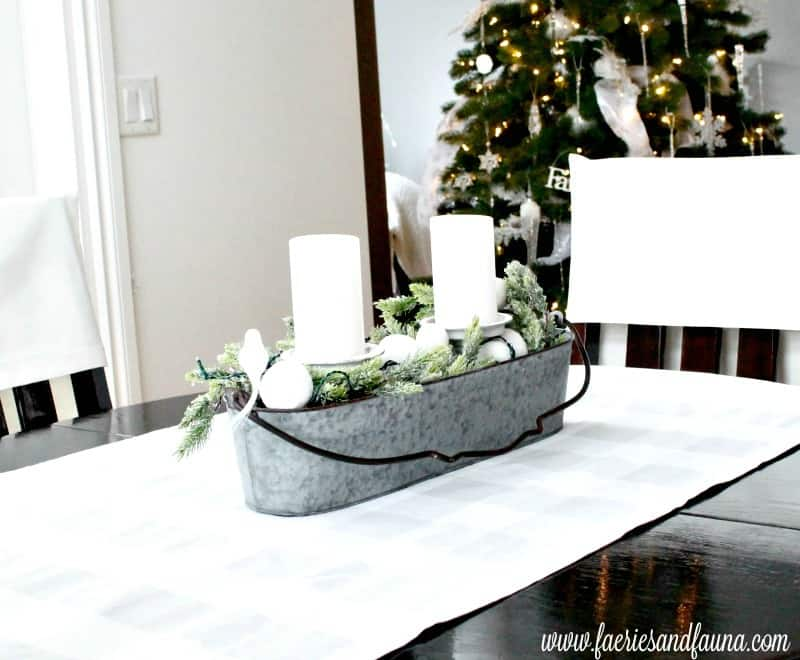 A Christmas home tour featuring a simple centerpiece using greenery and white decor elements. , Christmas House, Christmas Home, Christmas house tour