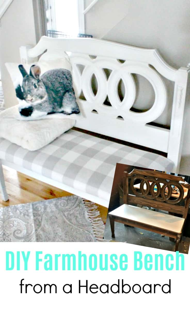 A farmhouse bench project made from an old headboard.