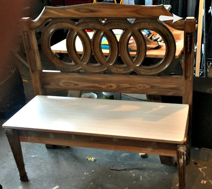 A bench made from a headboard, before receiving a paint makeover. Headboard bench ideas, diy bench seat, diy headboard bench, how to make a bench from a headboard