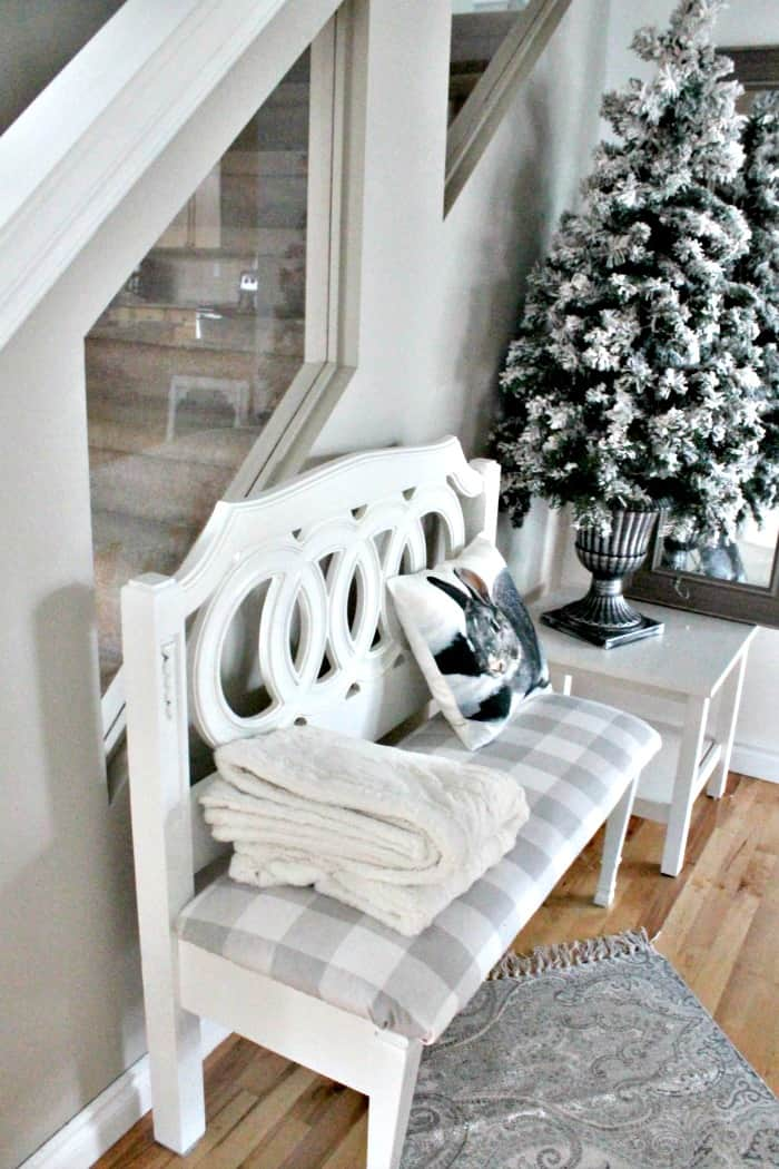 A painted farmhouse bench project with new upholstery. Headboard bench ideas, diy bench seat, diy headboard bench, how to make a bench from a headboard