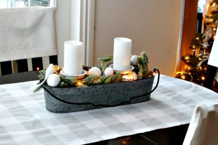 Easy DIY Christmas centerpieces, this one has a farmhouse style with a galvanized container.