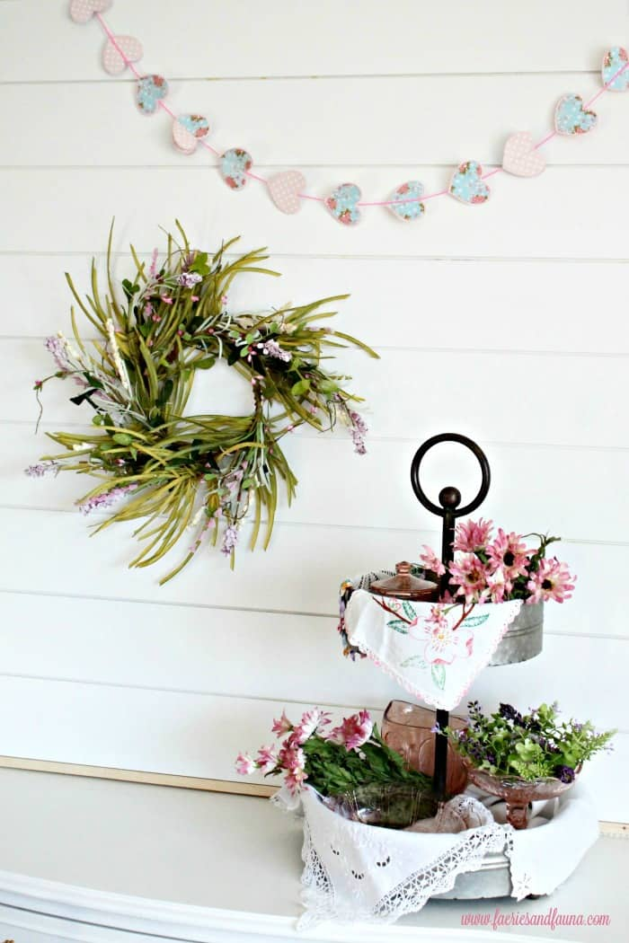 A Spring vignette in front of a DIY shiplap wallart project. diy shiplap wallart, shiplap bathroom, installing shiplap interior, shiplap house,