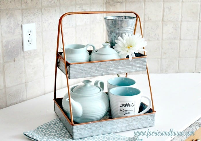 diy three tired stand, tiered tray ideas, spring decor, tiered tray organization, tiered tray decor ideas, organizing with trays,