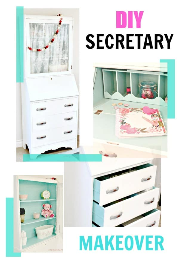DIY vintage secretary painted inside and out with white and pretty teal paint.