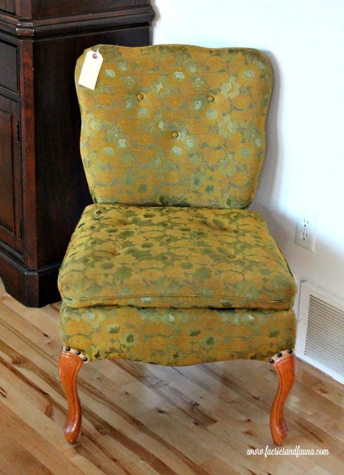 A vintage french provincial chair in need of recovering. A DIY chair reupholstery project before picture.