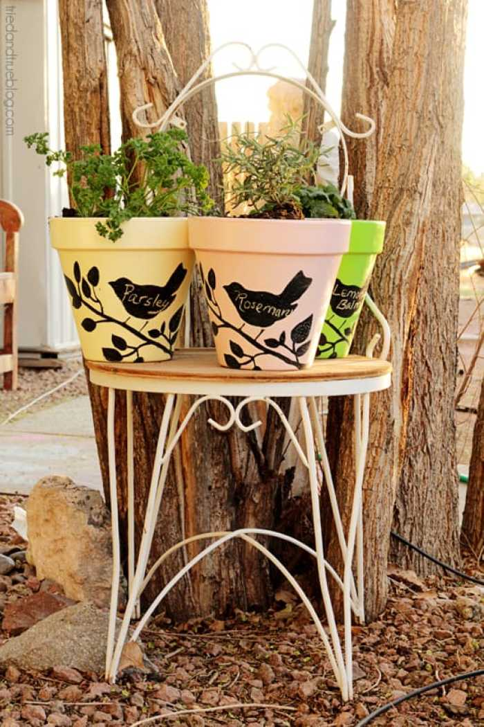 Terra Cotta pots decorated with chalkboard paint and stencils.