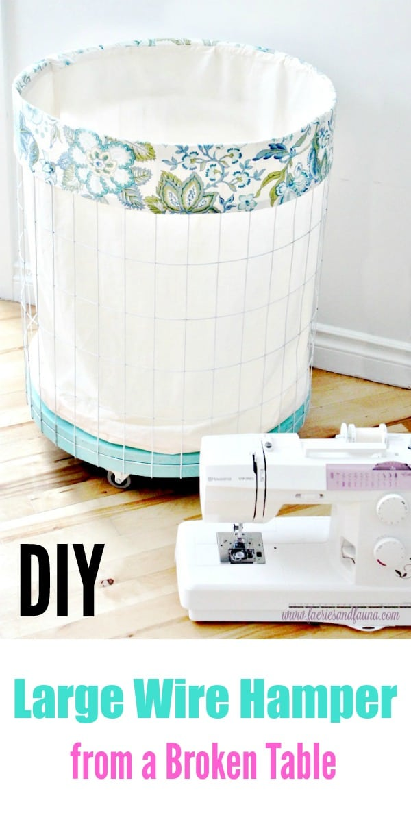 A large DIY Wire Laundry Hamper with wheels, and a pretty blue and white Liner.