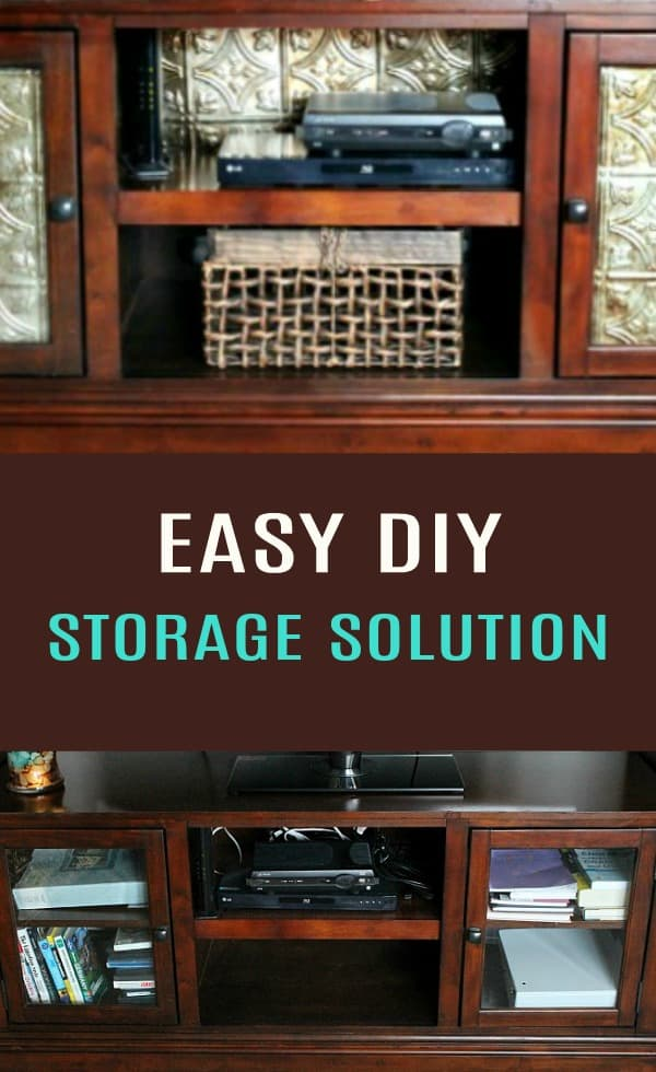 Before and After of an Easy DIY Storage Solution using Faux Tin Panels