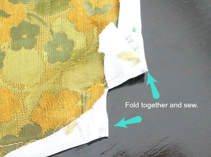 Two open seams to be sewn together on a thrift store chair repair. Chair repair, furniture restoration, recover chairs DIY, how to reupholster a chair, reupholstery, chair reupholstery, furniture repair, recovering furniture, how to recover a chair.