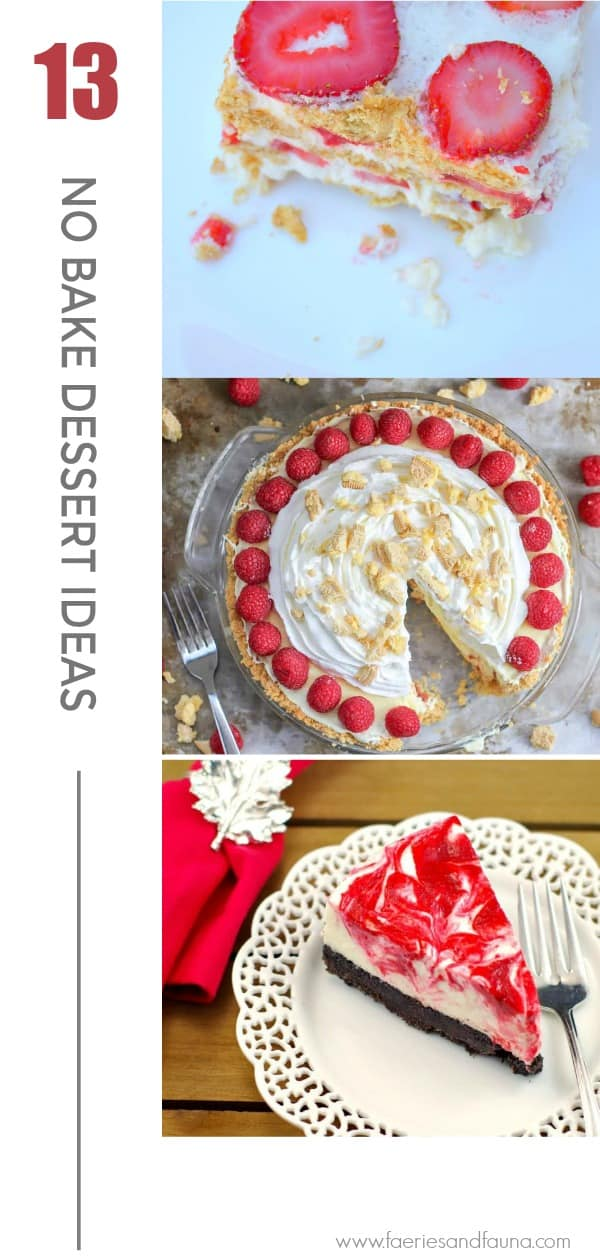 No bake dessert round up collage including pies and ice cream ideas.