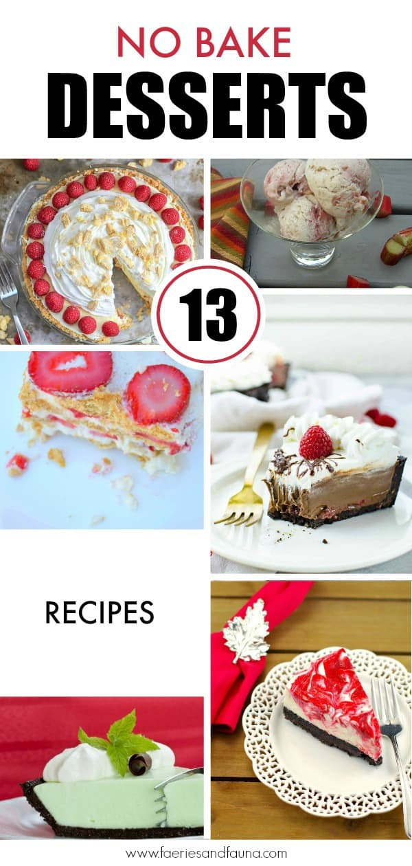 13 no-bake dessert recipes in a collage.