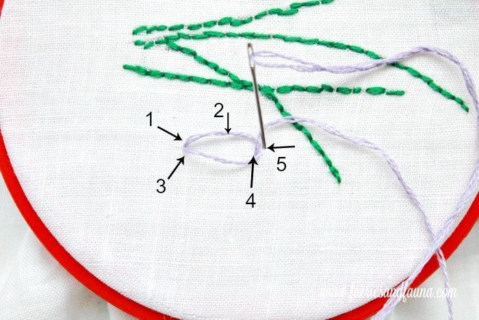 Lazy daisy or single chain stitch how to. sachet, how to make lavender bags, how to make sachets, lavender bags pattern, hand embroidery, hand embroidery patterns, hand embroidery stitches, hand embroidery designs.