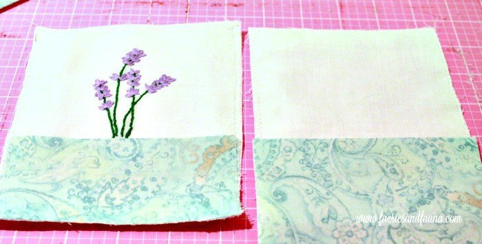 Aligning embellishments on hand made sachet. sachet, how to make lavender bags, how to make sachets, lavender bags pattern,