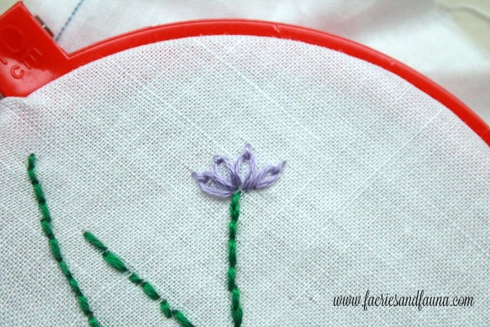 A cluster of stitches for lavender embroidery on a hand made sachet. sachet, how to make lavender bags, how to make sachets, lavender bags pattern,