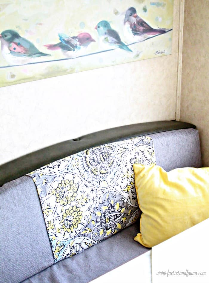 A DIY RV Bench Refresh. RV cushion cover. RV renovation, RV interior, RV remodel before and after, travel trailer remodel ideas