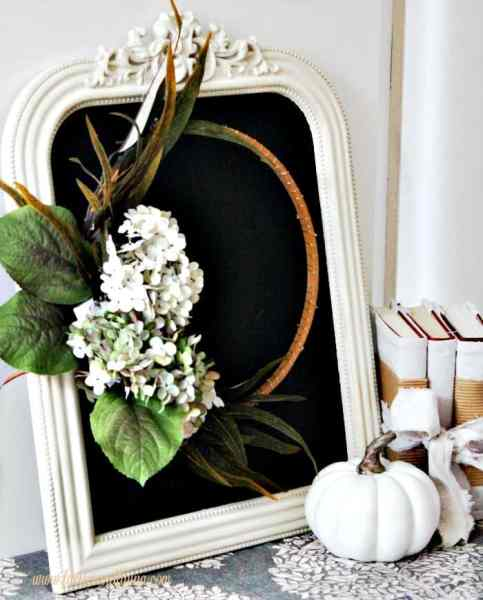 Elegant fall minimalistic wreath on a chalkboard for fall decor.