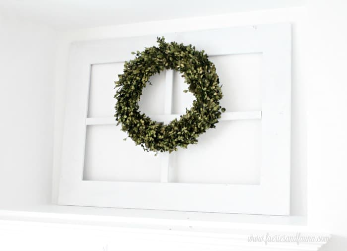 Window frame craft project for interior decor.