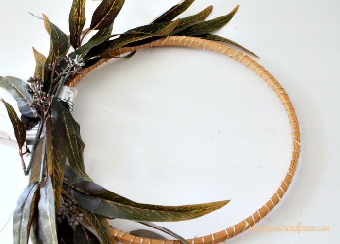 How to attach branches to a wreath ring for a fall wreath, and chalkboard project.