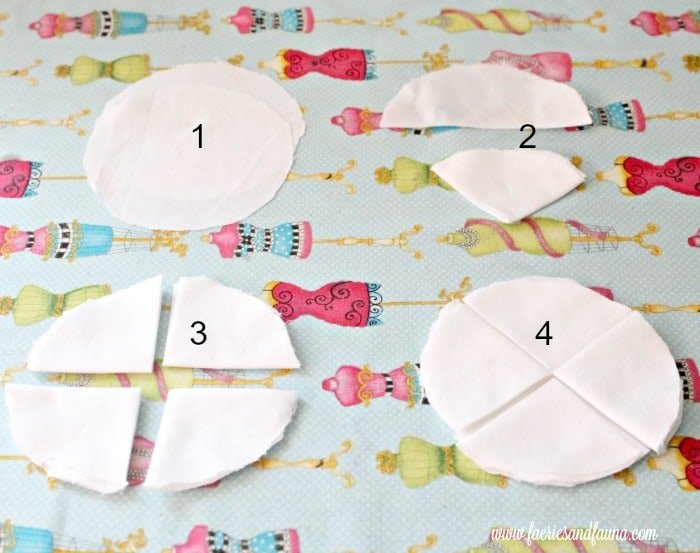 How to cut and fold fabric for shabby chic farmhouse fabric flowers.