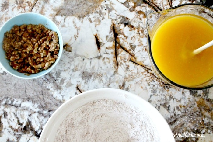Ingredients for moist all natural pumpkin bread. The best pumpkin bread recipe for fall.