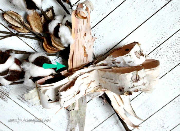 Making a ribbon for fall decor using natural birch bark.