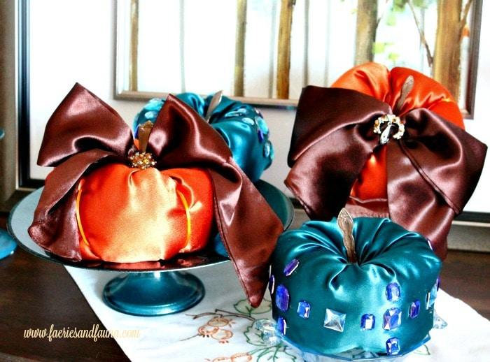 DIY stuffed satin pumpkin to compare with velvet pumpkins.
