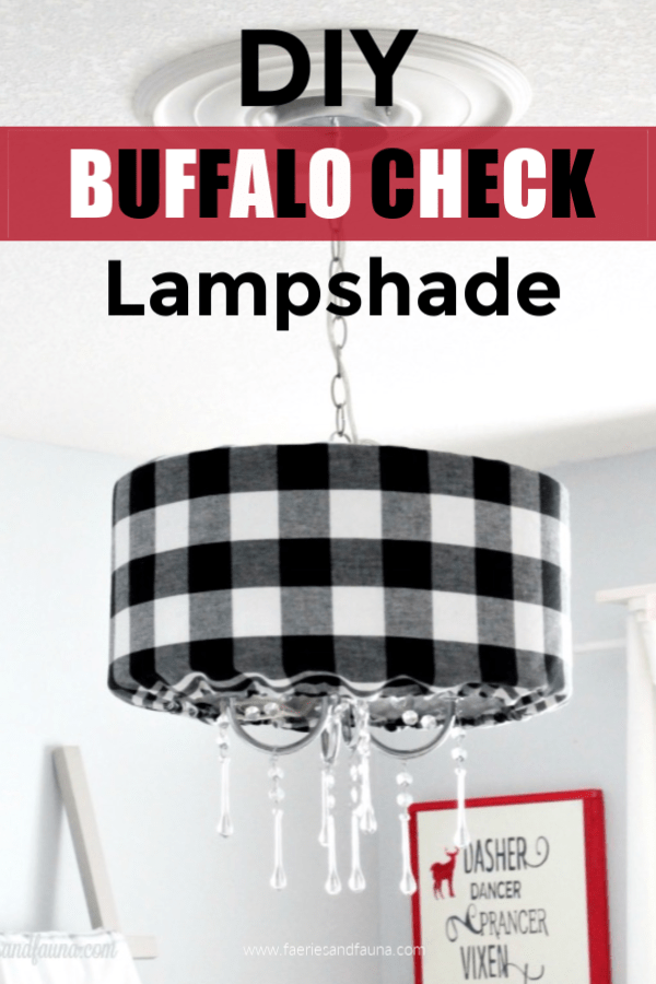 DIY lampshade in buffalo check for easy Christmas decor