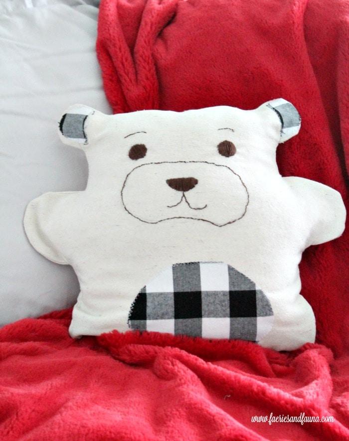 Handmade DIY teddy bear pajama bag for Christmas