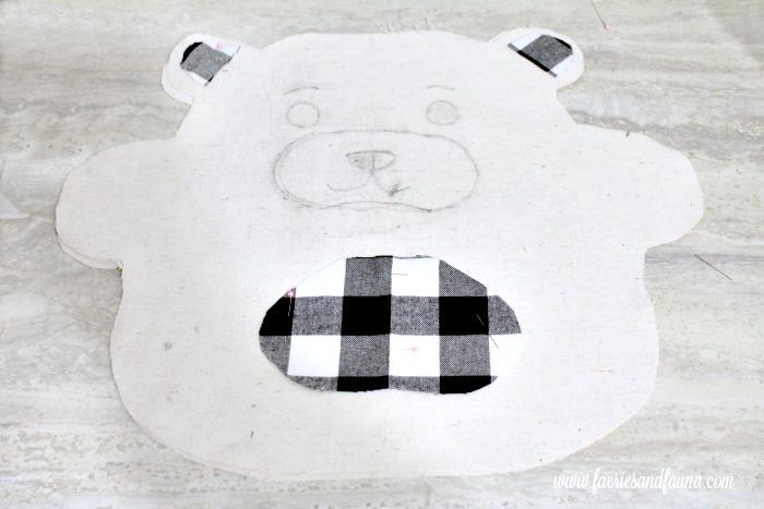 Transferred teddy bear face and applique onto a DIY Christmas Cushion