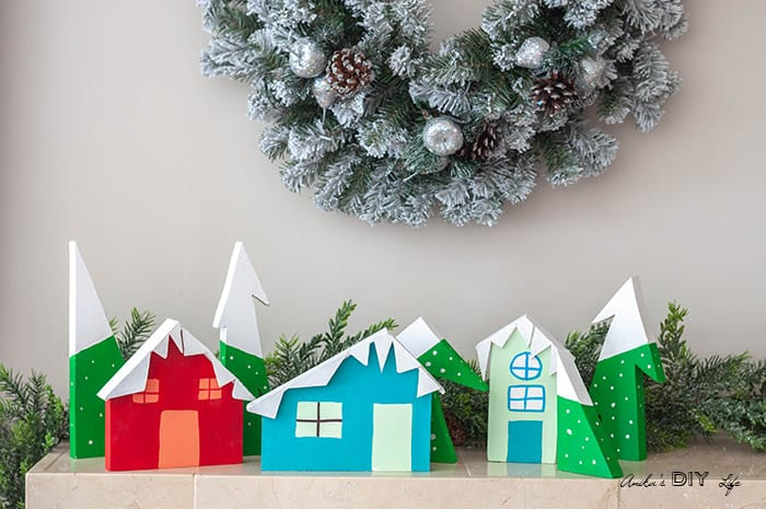 Waste Not Wednesday feature DIY Christmas Village from Scrap Wood