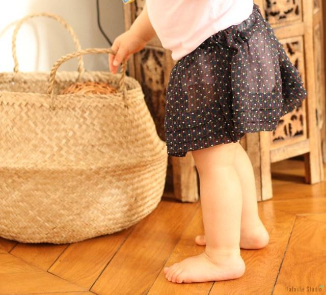 Jupe taille élastiquée pour bébé