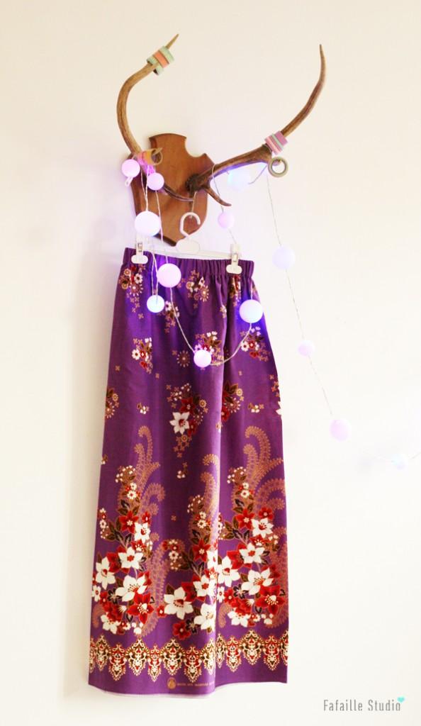 Jupe longue avec tissu Batik