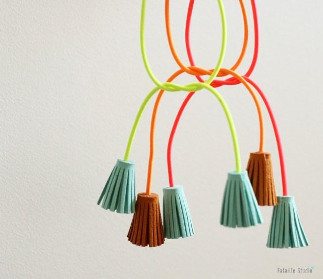 DIY tassels accessoires à franges fluo