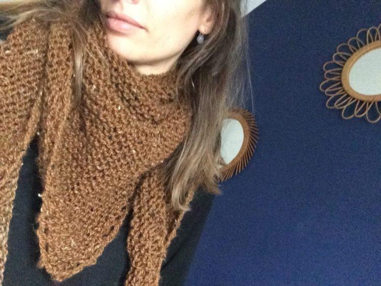 Trendy châle tricoté coloris havane