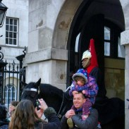 This little girl screamed when her dad took her up to the horses for a picture in front of the Horse Guards building