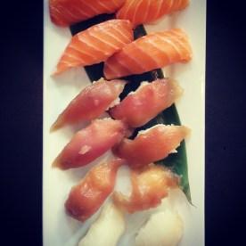 Salmon, tuna and red snapper sushi at Watari.