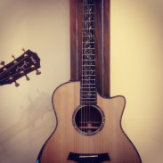 A beautiful acoustic guitar with inlays.