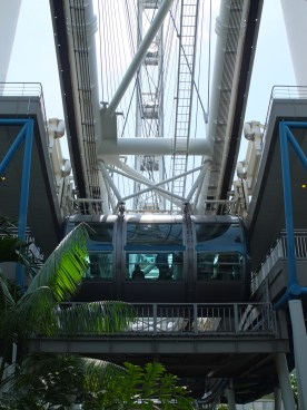 A view from underneath the Singapore Flyer