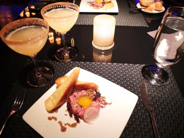 Wagyu beef tartar and cocktails